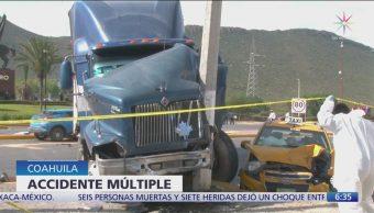 Choque múltiple deja dos muertos en Saltillo, Coahuila