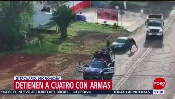 FOTO: Detienen cuatro sujetos con armas Zitácuaro Michoacán,