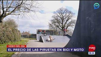 #ElVideodelDía: El precio de las piruetas en bici y moto