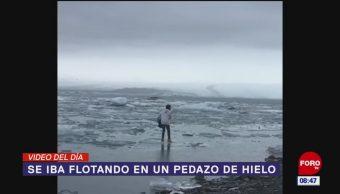 #ElVideodelDía: Se iba flotando en un pedazo de hielo