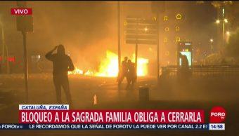 FOTO: Enfrentamientos Barcelona provocan cierre Iglesia Sagrada Familia