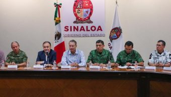 Foto: El gabinete de seguridad del Gobierno Federal durante una rueda de prensa en la ciudad de Culiacán, en Sinaloa, el 18 de octubre de 2019 (EFE)