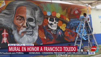 FOTO: Habitantes de Villa de Etla recuerdan a Francisco Toledo con un mural, 19 octubre 2019