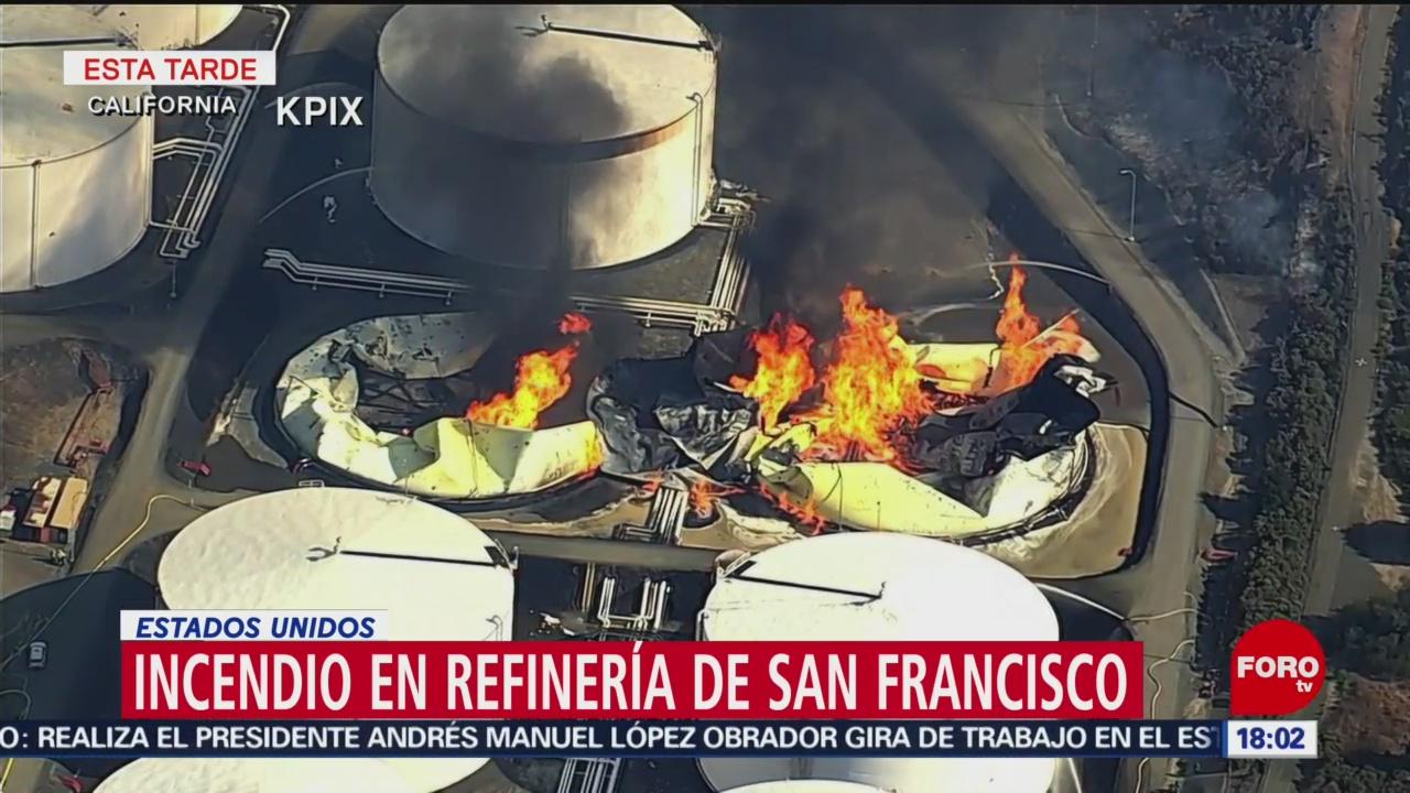 FOTO: Incendio refinería es visible desde bahía San Francisco