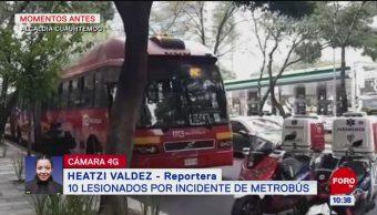 Incidente en el Metrobús deja diez lesionados