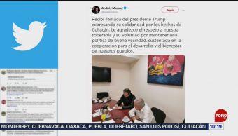 FOTO: López Obrador recibe llamada de Trump por balaceras en Culiacán, 19 octubre 2019