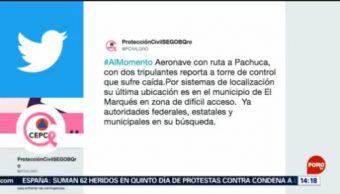 FOTO: Mueren dos personas tras desplomarse aeronave en Querétaro, 20 octubre 2019