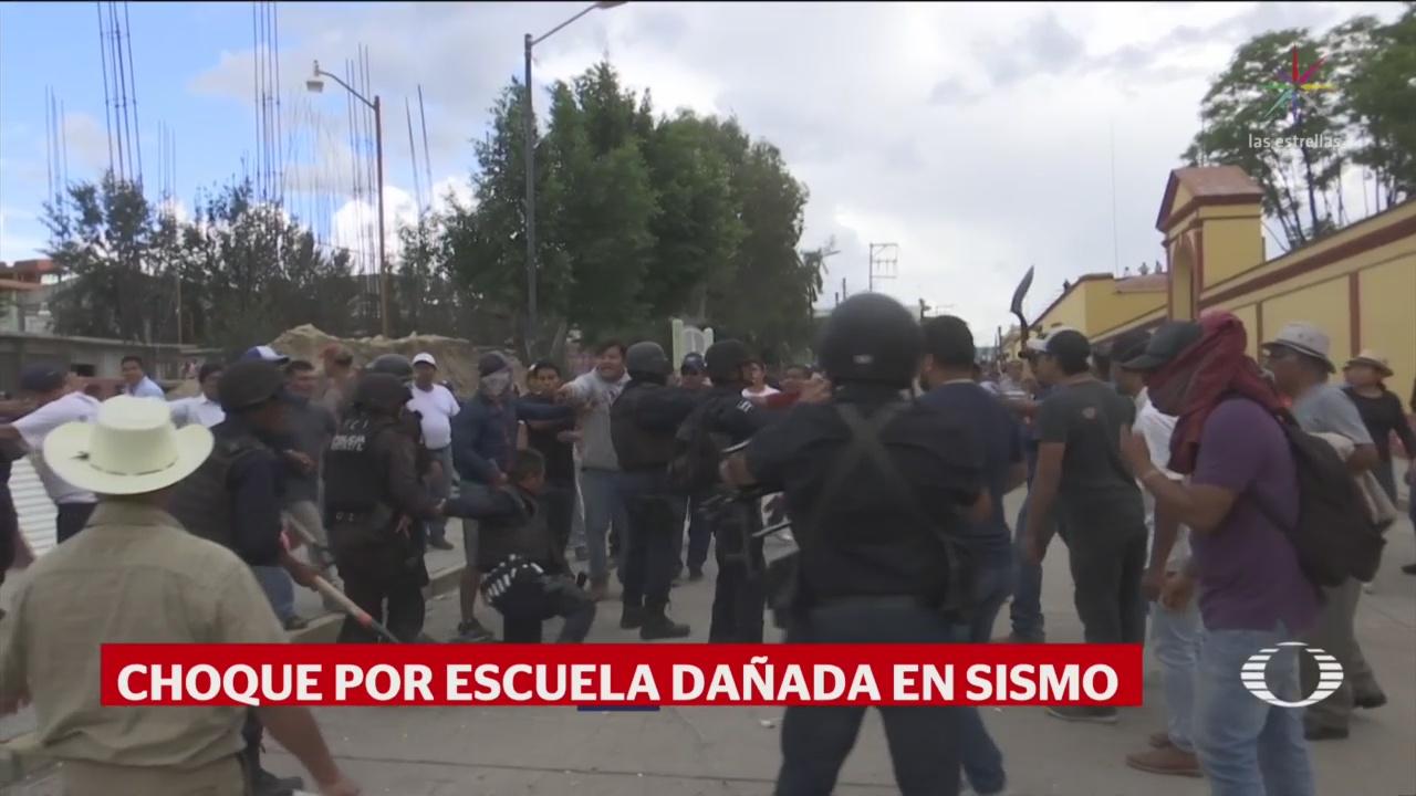 Foto: Escuela Dañada Oaxaca Sismo 19S Enfrentamiento 25 Octubre 2019