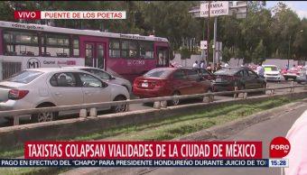 FOTO: Persiste Bloqueo Taxistas Puente Poetas
