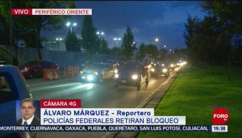Foto: Policías Federales Retiran Bloqueo Periférico Oriente CDMX 4 Octubre 2019