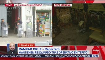 FOTO: Policías Resguardan Domicilios Tras Megaoperativo Tepito,