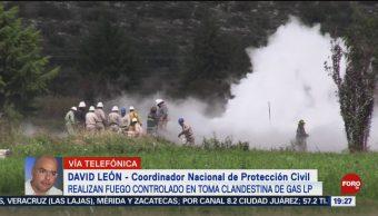 FOTO: Realizan fuego controlado en toma clandestina de gas LP en Puebla, 19 octubre 2019