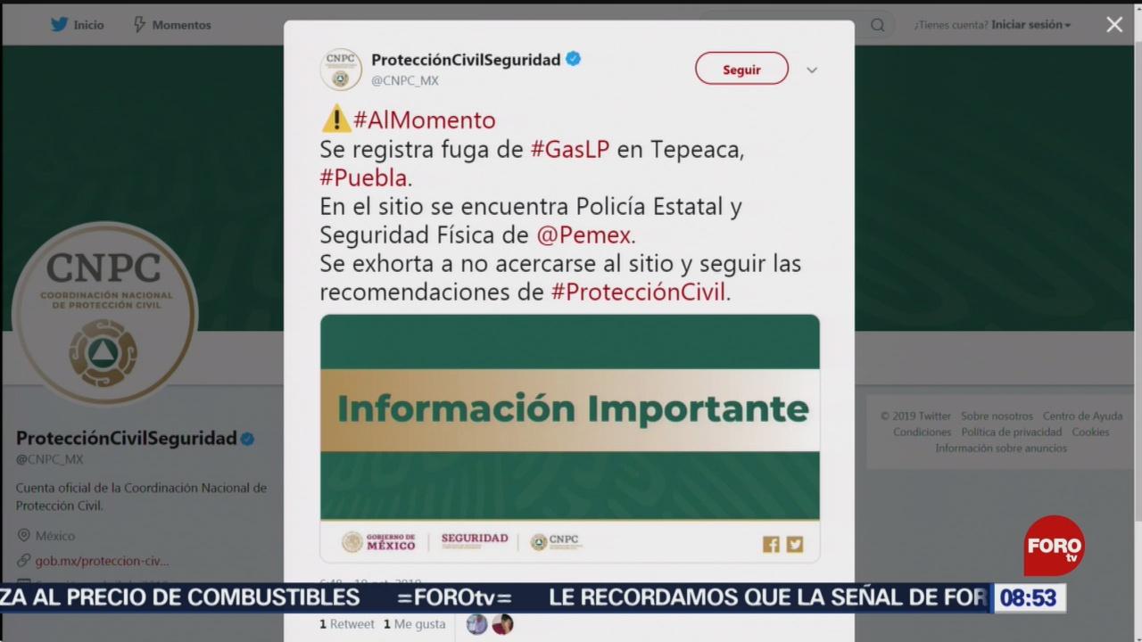 FOTO: Reportan fuga de gas LP en Tepeaca, Puebla, 19 octubre 2019