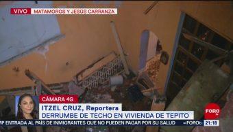 FOTO: Se registra derrumbe de techo de vivienda en Tepito, 5 octubre 2019