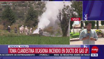 FOTO: Sofocan toma clandestina gas LP Puebla