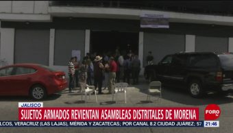 FOTO: Sujetos armados revientan asambleas distritales de Morena en Jalisco, 12 octubre 2019