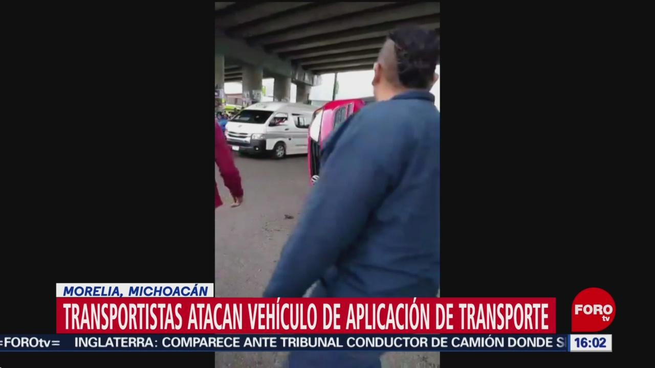 FOTO: Supuestos taxistas voltean vehículo de app en Morelia, Michoacán, 28 octubre 2019