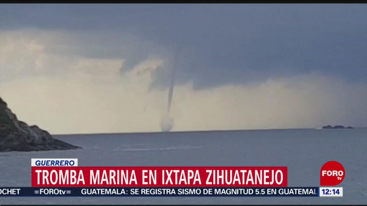 Captan en video tromba marina en aguas de Ixtapa Zihuatanejo