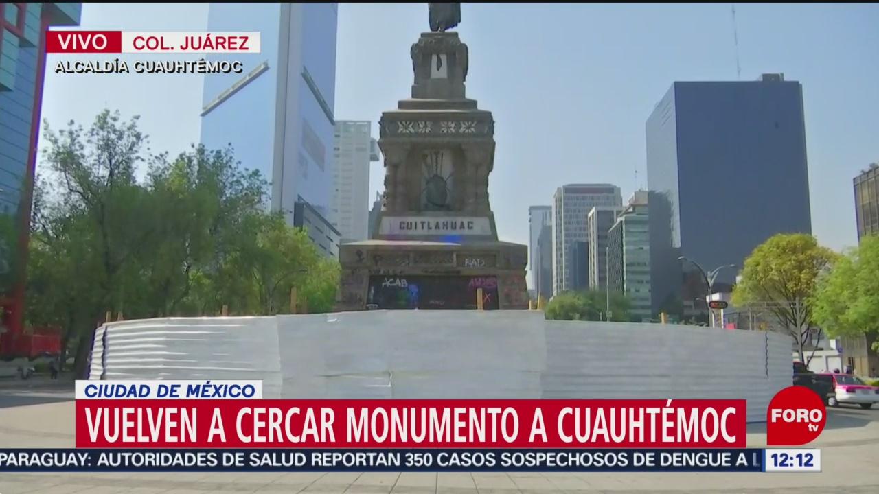 Cercan monumento a Cuauhtémoc, por actos de vandalismo en CDMX