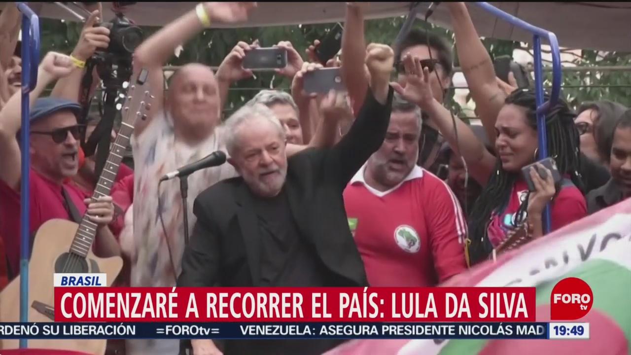 FOTO: Lula saluda a sus seguidores tras su liberación, 9 noviembre 2019