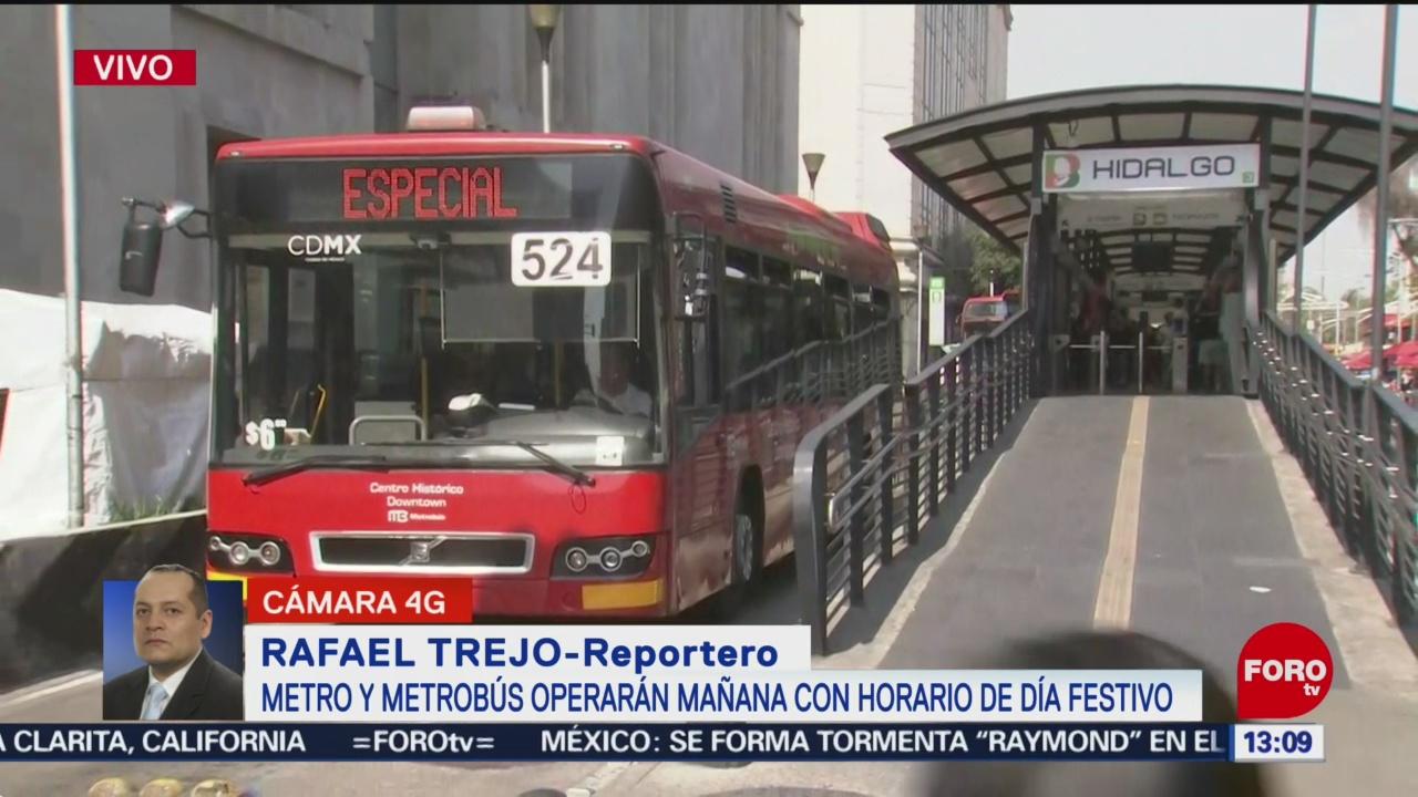 FOTO: Metro y Metrobús operarán el lunes 18 de noviembre con horario de Día Festivo, 17 noviembre 2019
