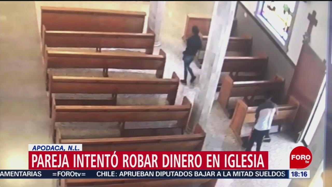FOTO: Pareja Roba Alcancía Iglesia Nuevo León