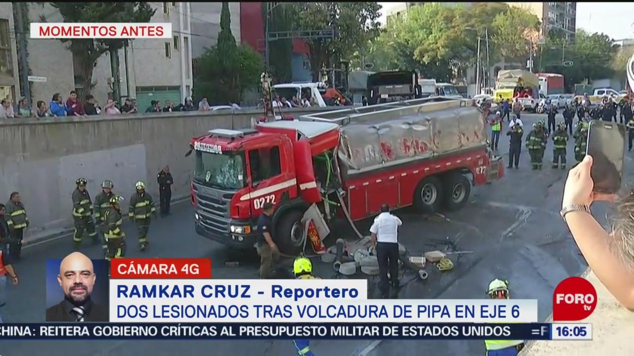 Foto: Abren Circulación Eje 6 Volcadura Pipa De Bomberos 26 Diciembre 2019