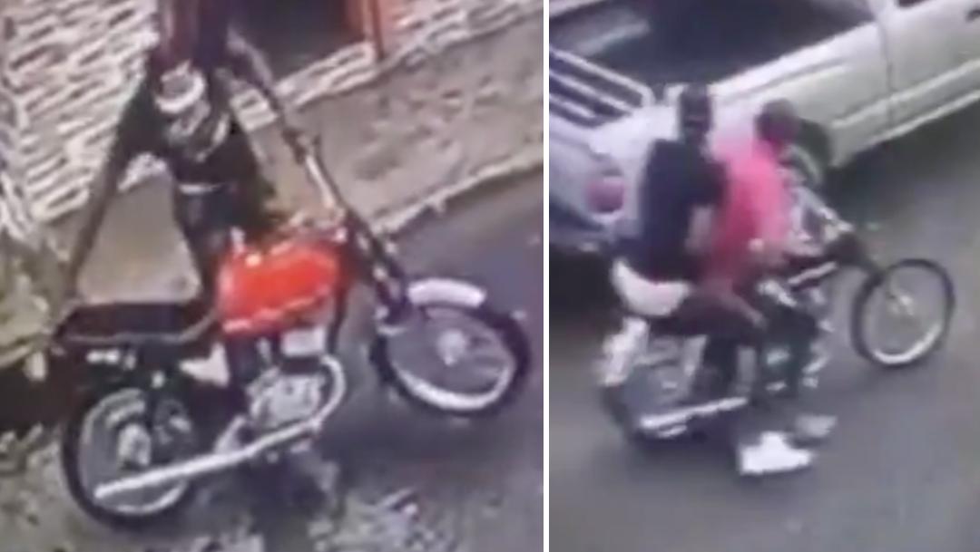 Video: asaltantes olvidan motocicleta tras robar una tienda