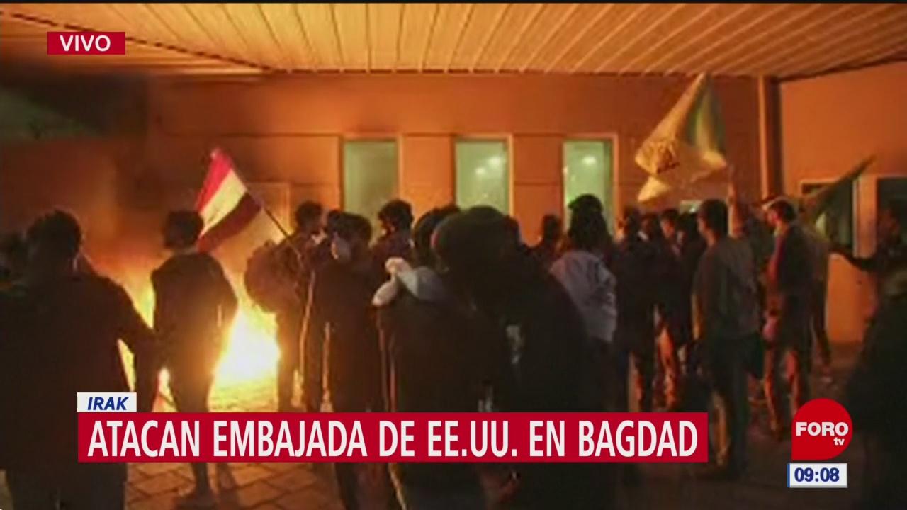 Foto: manifestantes incendian parte de la embajada de eeuu en bagdad