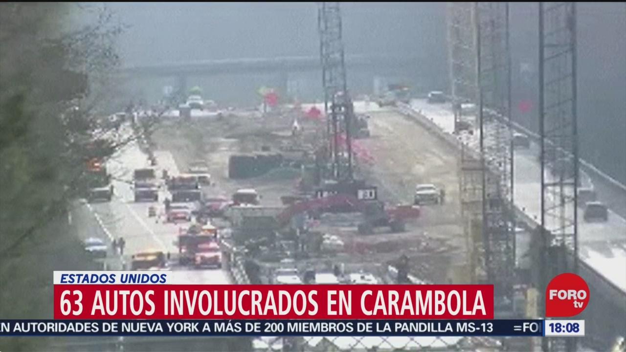 FOTO: 22 diciembre 2019, mas de 60 vehiculos protagonizan carambola en autopista de virginia