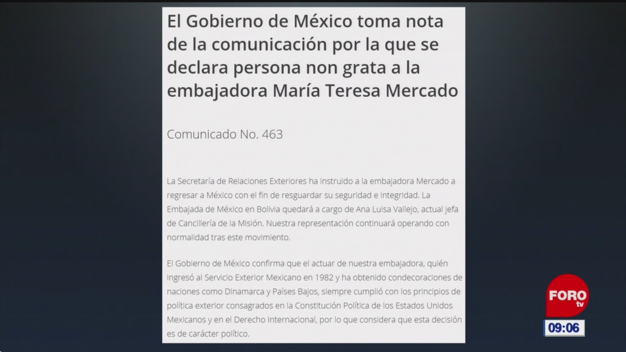 Foto: mexico instruye a embajadora mercado a regresar de bolivia