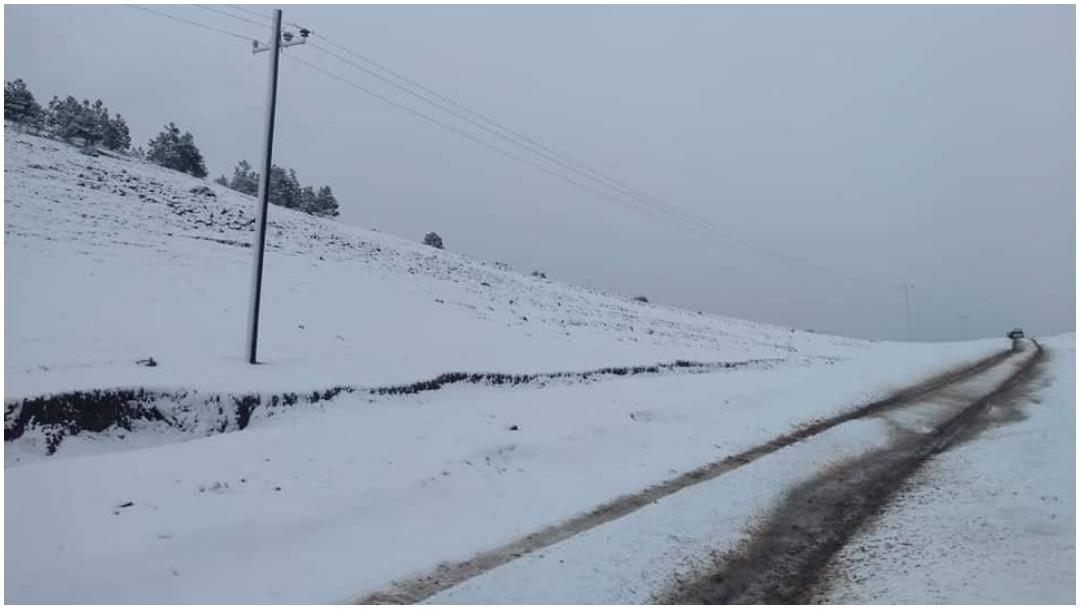 Foto: El municipio de Galeana se tiñó de blanco tras la nevada de esta madrugada, 21 de diciembre de 2019 (Noticieros Televisa)