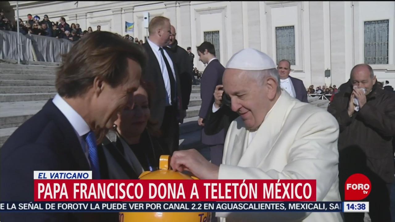 papa francisco dona al teleton desde el vaticano