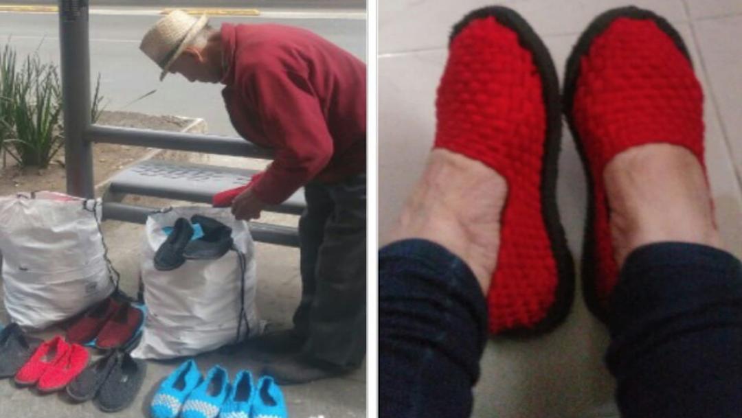 Foto Abuelito pide ayuda para vender zapatos tejidos por su familia 6 enero 2019