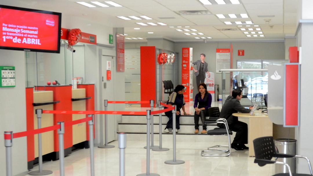 Fotgrafía que muestra el interior de un banco en México, 30 enero 2020