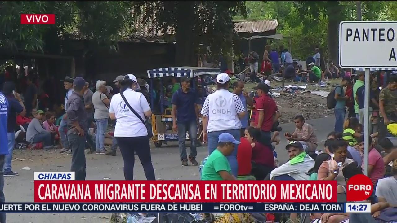 FOTO: caravana migrante descansa en territorio mexicano