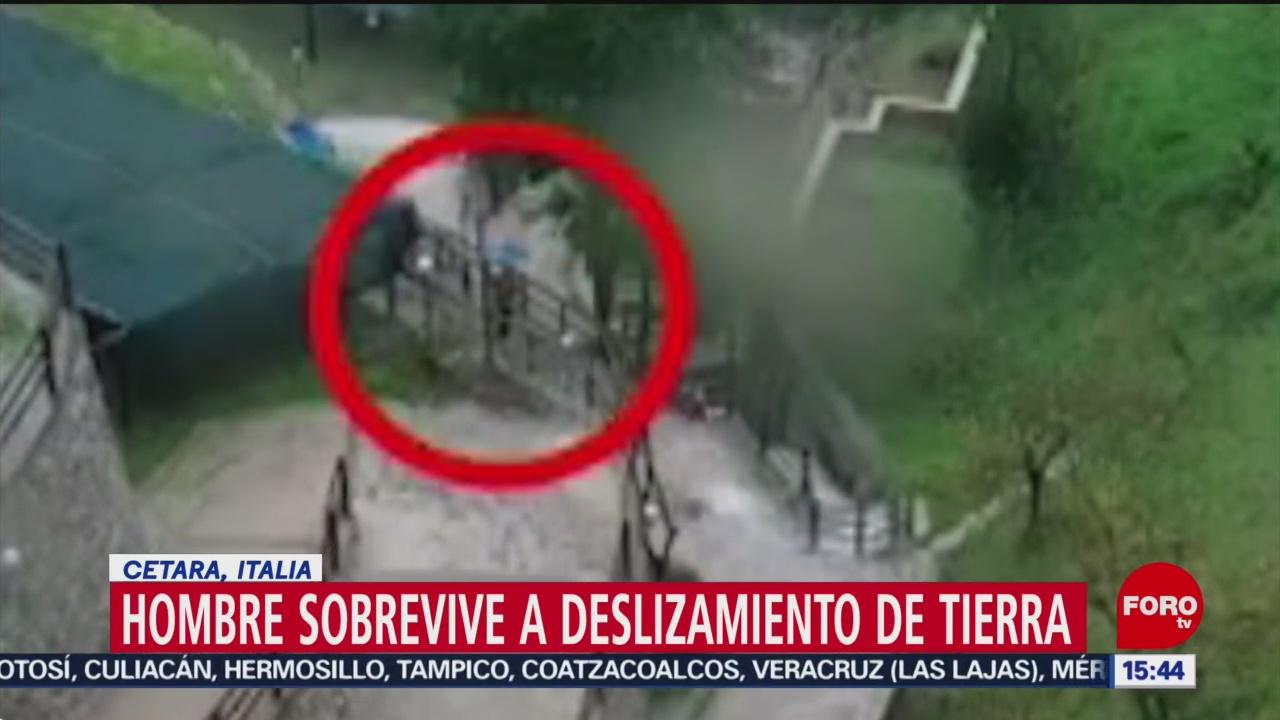 FOTO: deslizamiento de tierra arrastra a un hombre