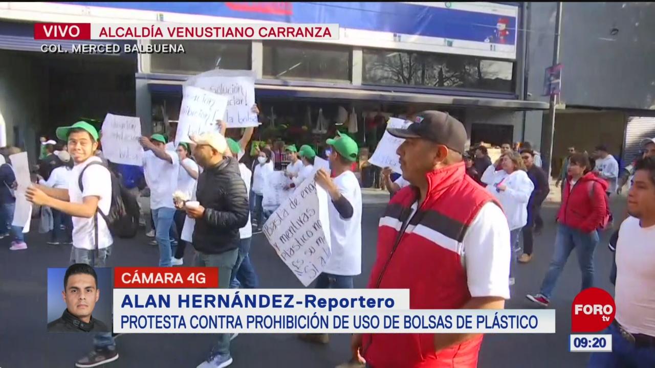 manifestantes protestan contra la prohibicion de uso de bolsas de plastico en cdmx