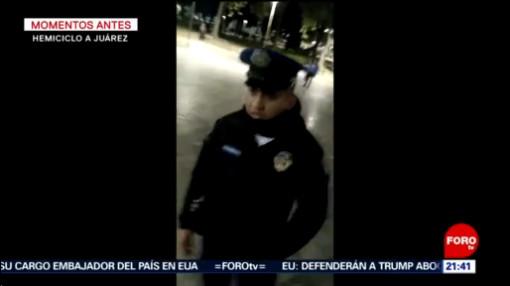FOTO: 18 enero 2020, policia desenfunda arma en la alameda central y amenaza a perro