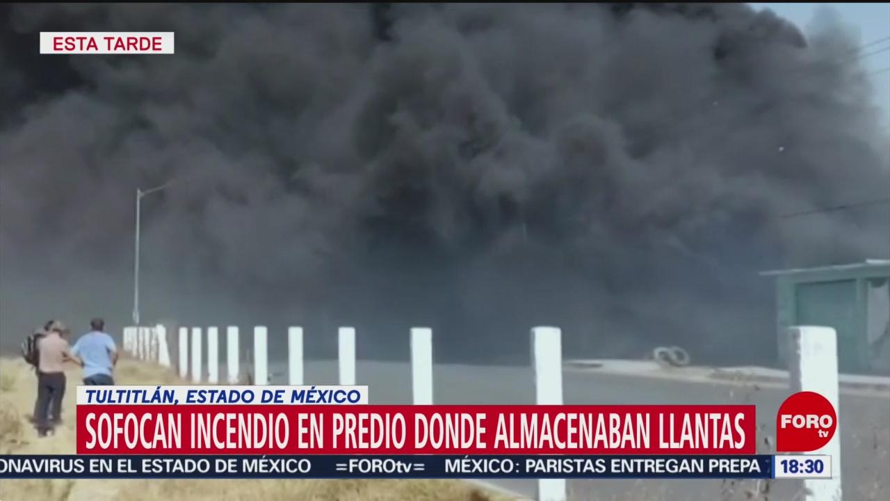 FOTO: se incendia predio con llantas almacenadas en tultitlan
