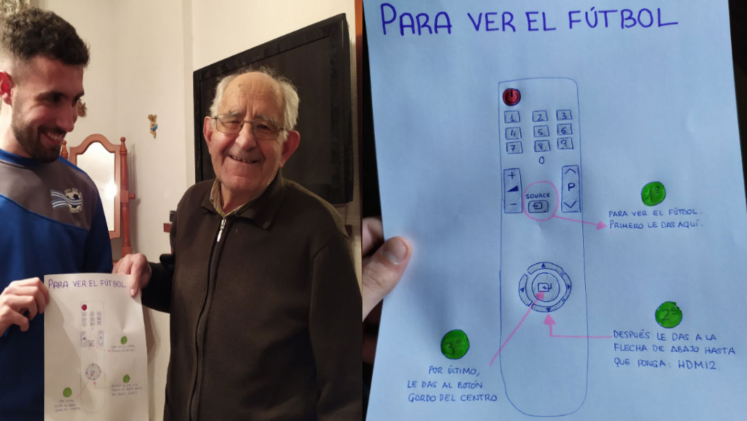 Foto Joven hace dibujo para enseñarle a su abuelo a usar el control de la TV 19 febrero 2020