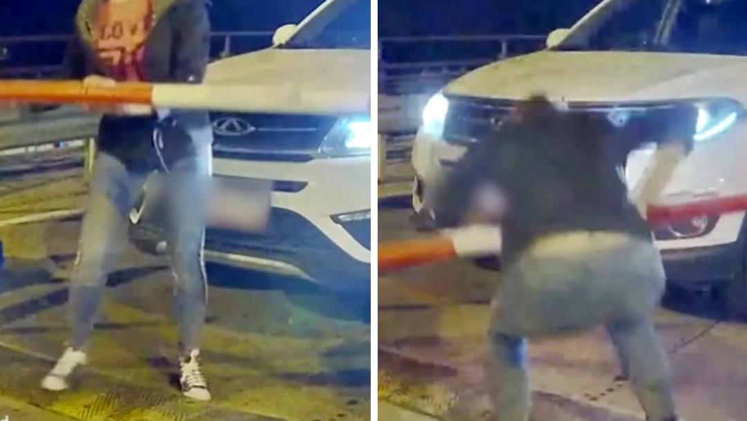 Mujer rompe pluma de estacionamiento para irse sin pagar