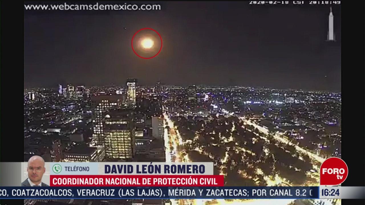 FOTO: meteorito no impacto en suelo mexicano proteccion civil