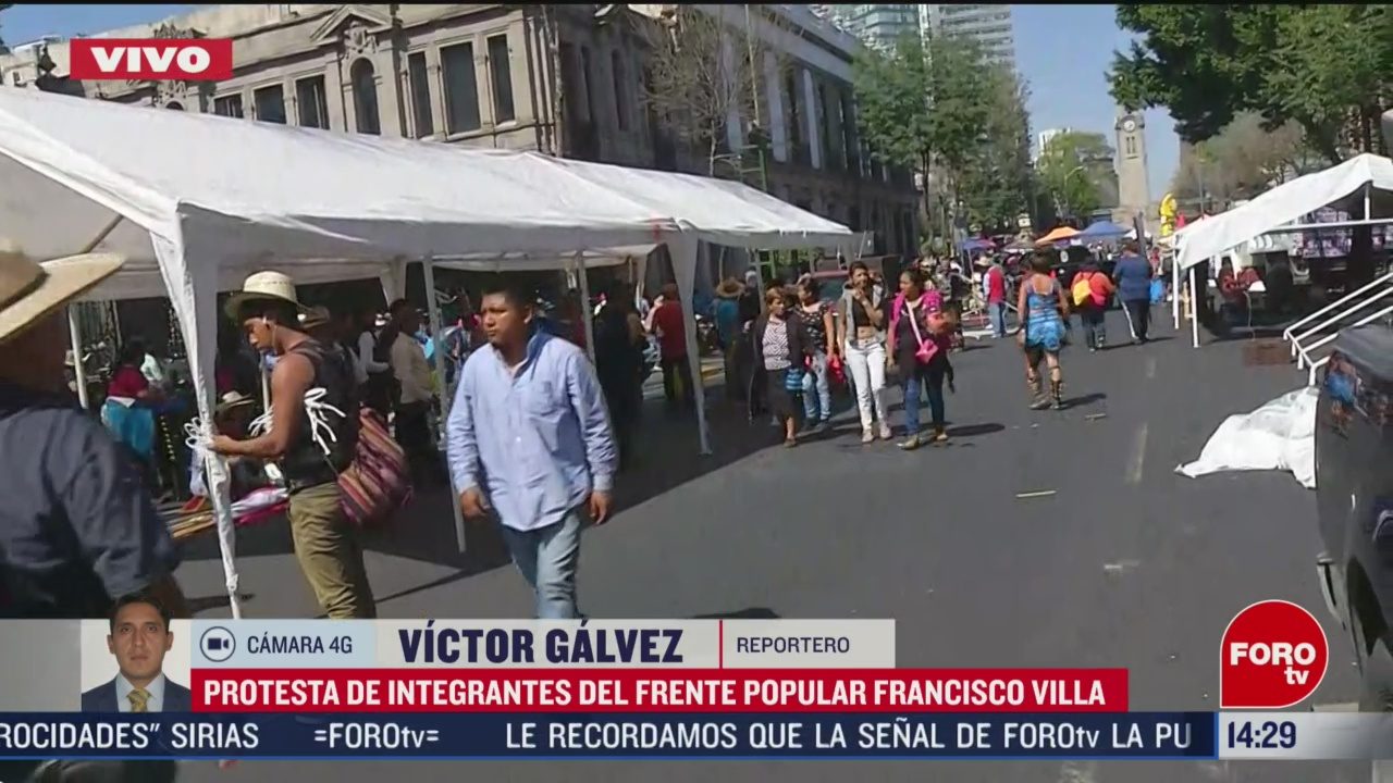 FOTO: protesta del frente popular francisco villa llega a bucareli