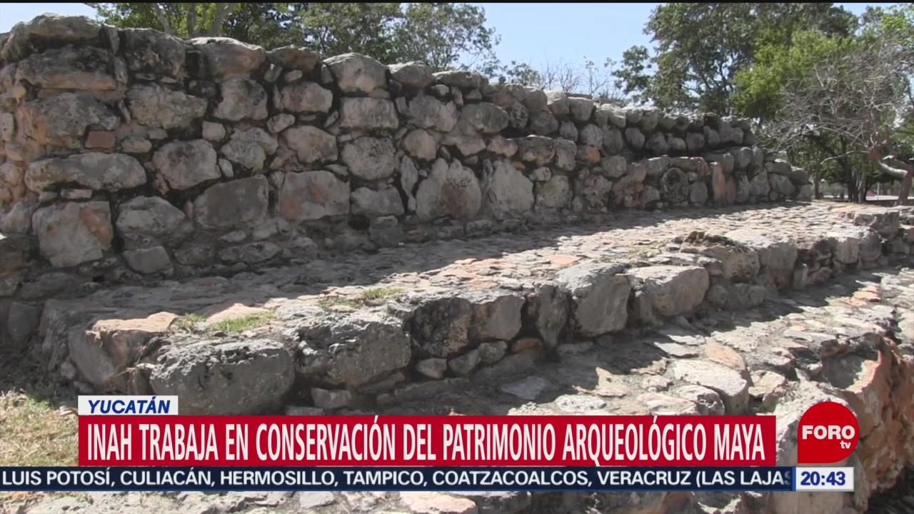 FOTO: 7 febrero 2020, trabajan en conservacion del patrimonio arqueologico maya en yucatan