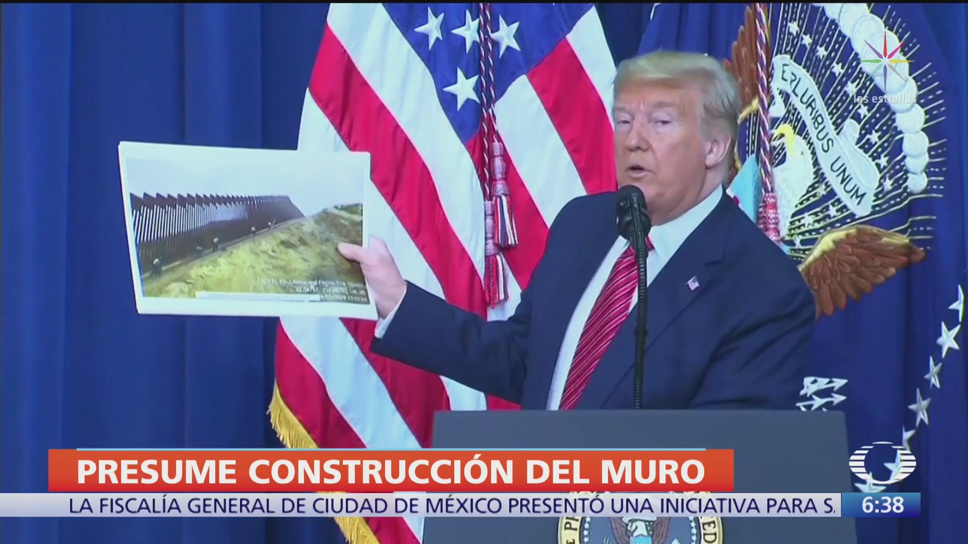 trump difunde fotos de avances en construccion del muro fronterizo