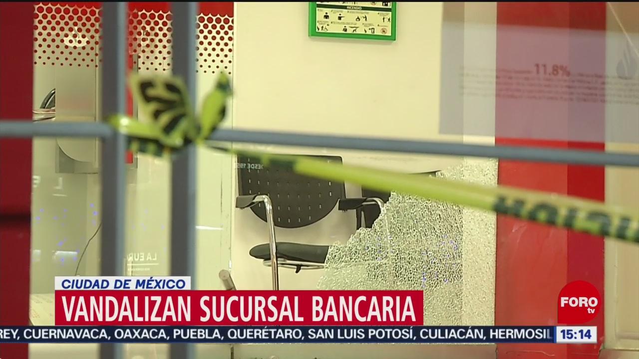 FOTO: 3 Febrero 2020, vandalizan sucursal bancaria en la cdmx