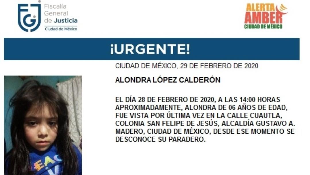 Activan Alerta Amber para Alondra López, de 6 años de edad