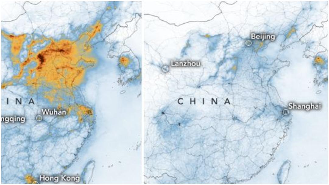 Foto: La calidad del aire en China ha mejorado tras coronavirus, 1 de marzo de 2020 (NASA)