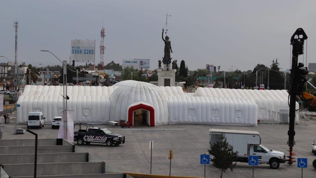 Hospital inflable es instalado en Hidalgo por coronavirus